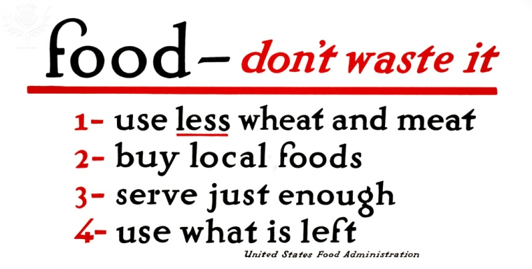 WWI: FOOD SUPPLY, 1917. .'Food - don't waste it. 1. Use less wheat and meat. 2. Buy local foods. 3. Serve just enough. 4. Use what is left.' Lithograph, 1917.